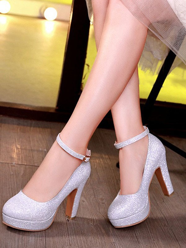 3f1dd5776b7 Silver Round Toe Chunky Sequin Buckle Fashion High-Heeled Shoes - Pumps  Heels - Shoes