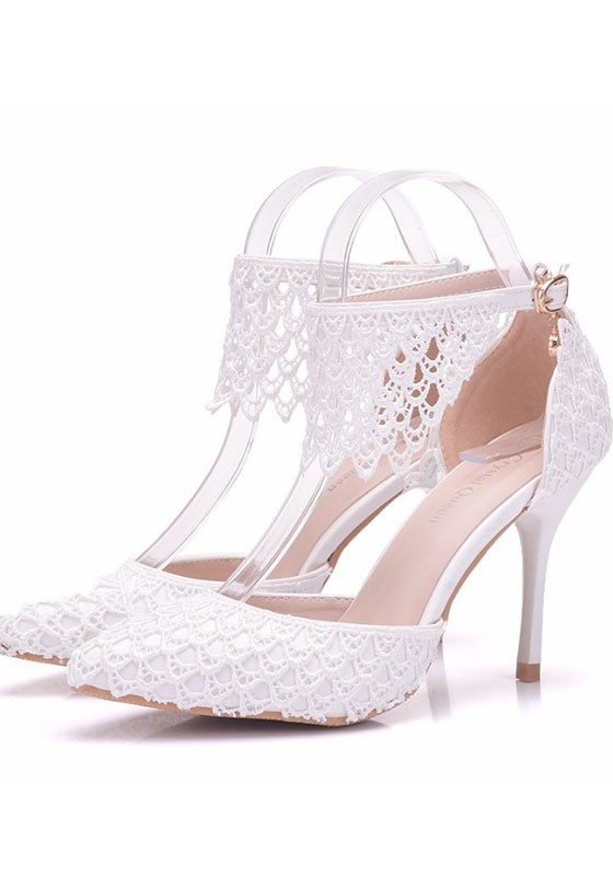 a2245546d49 White Point Toe Lace Stiletto Fashion High-Heeled Shoes