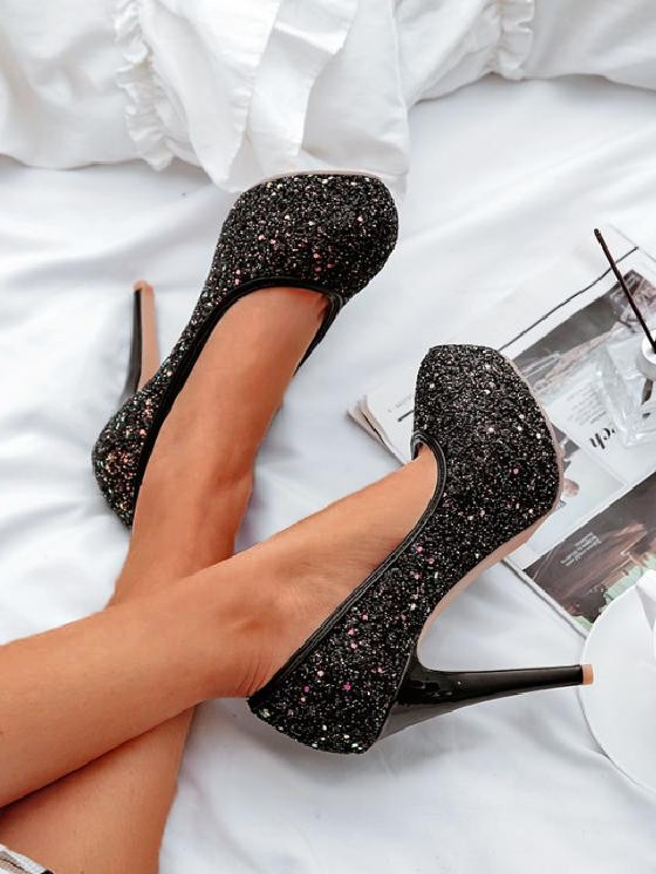 5d9daf7cc0b Black Round Toe Sequin Stiletto Fashion High-Heeled Shoes