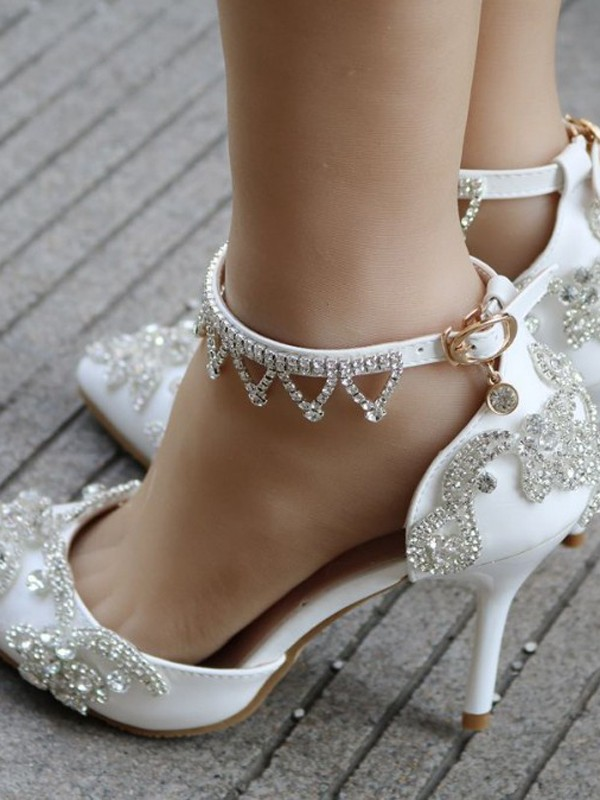 7a7c90ccd White Point Toe Stiletto Rhinestone Fashion High-Heeled Shoes - Pumps Heels  - Shoes