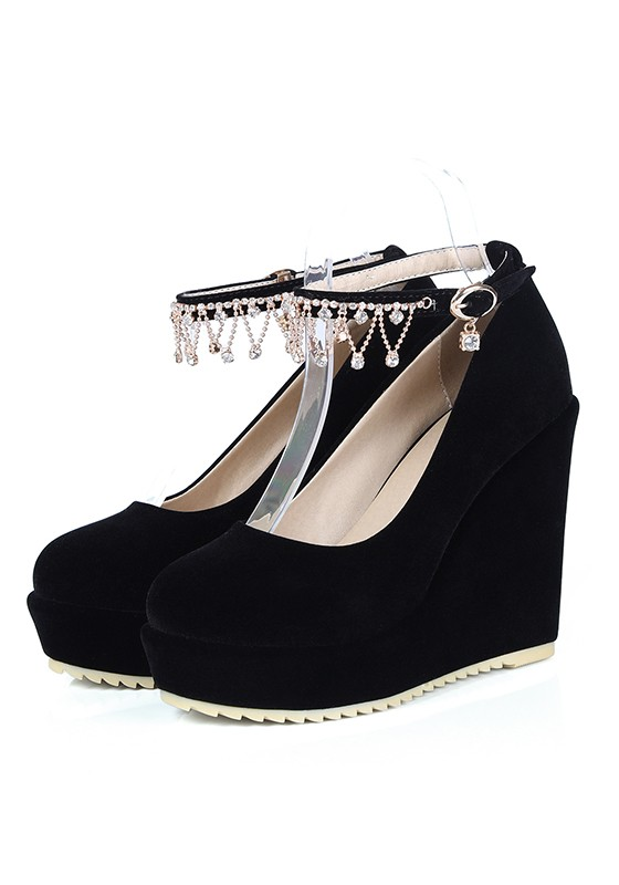 3adcabc8cd2ac Black Round Toe Wedges Rhinestone Buckle Fashion Shoes - Wedges - Shoes