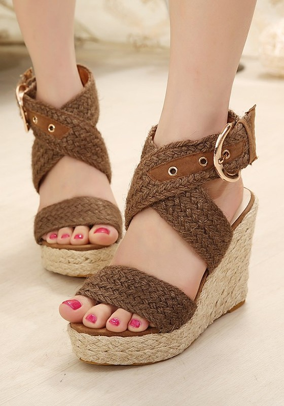 3586efe8f3c Brown Round Toe Wedges Buckle Fashion High-Heeled Sandals - Sandals - Shoes