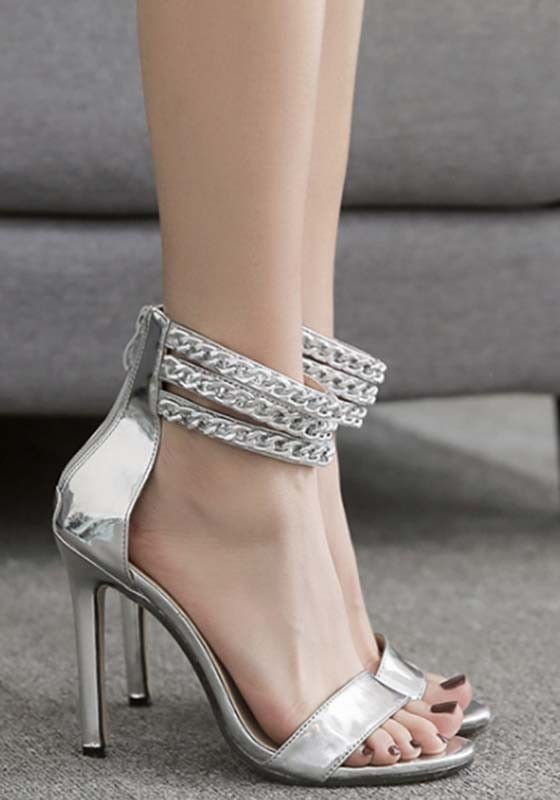 47b7ab9999e Silver Round Toe Stiletto Chain Buckle Fashion High-Heeled Sandals -  Sandals - Shoes