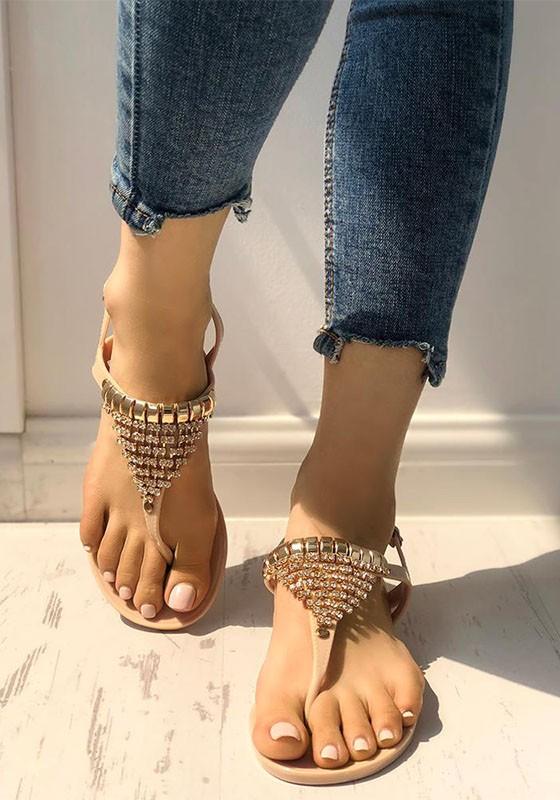 aprikose runde zehe flache mit strass steinen glitzer zehentrenner strand sandalen flip flops. Black Bedroom Furniture Sets. Home Design Ideas
