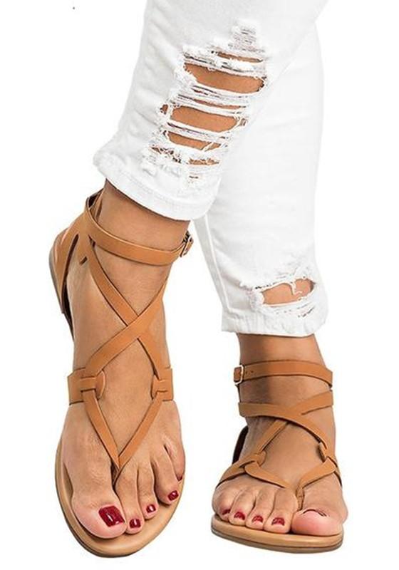 online retailer 1a59e cb90e Braun Runde Zehe Flache Kreuz Bügel Beiläufige Römer Zehentrenner Sandalen  Mode Damen Schuhe