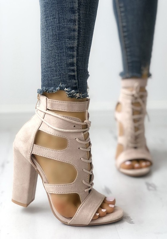 cf4b7a425a3 Apricot Round Toe Chunky Cut-out Fashion High-Heeled Sandals - Happy ...