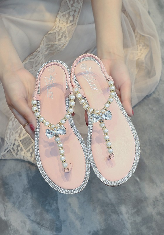 rosa runde zehe strass perlen mode sommer strand sandalen flip flops damen schuhe sale. Black Bedroom Furniture Sets. Home Design Ideas
