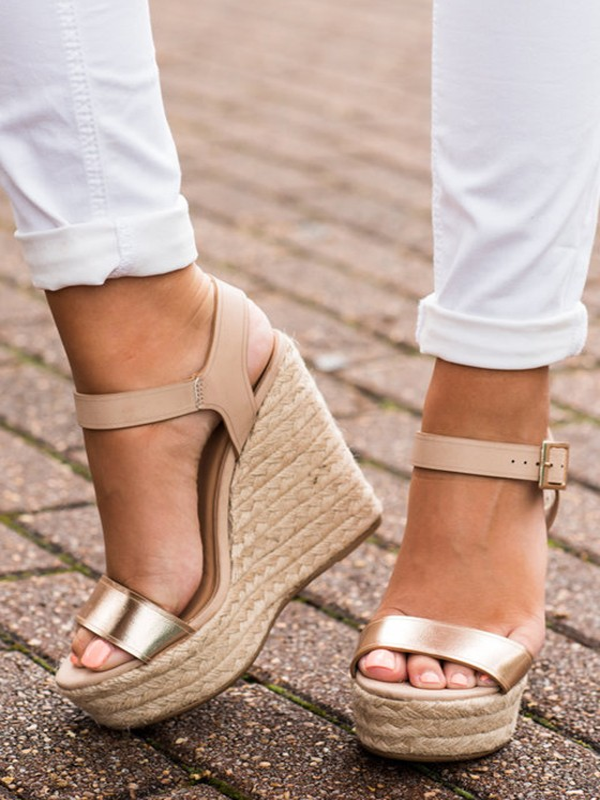 Femme Mode Talon Compensé Sandales Wedges Boucle Sangle Dorée zVjUMpqLGS