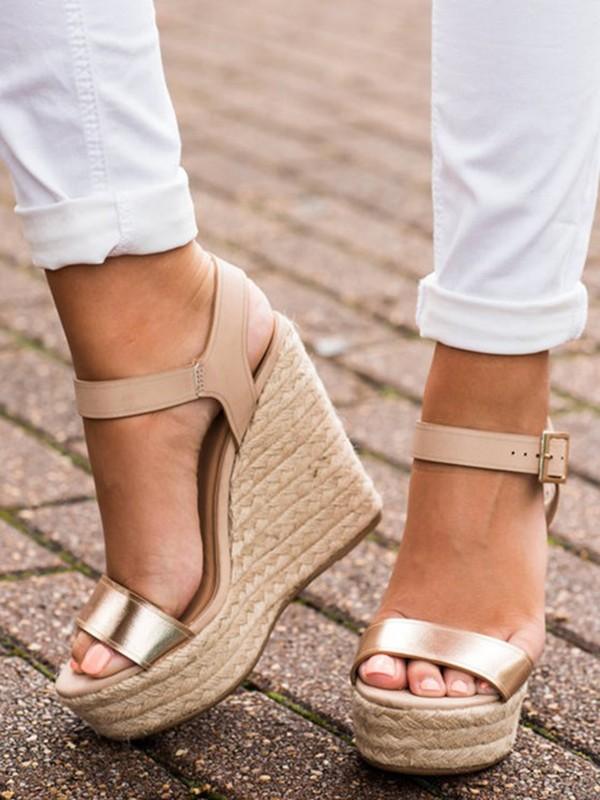 Mode Femme Talon Wedges Dorée Boucle Sangle Sandales Compensé 7Ybv6yfmIg