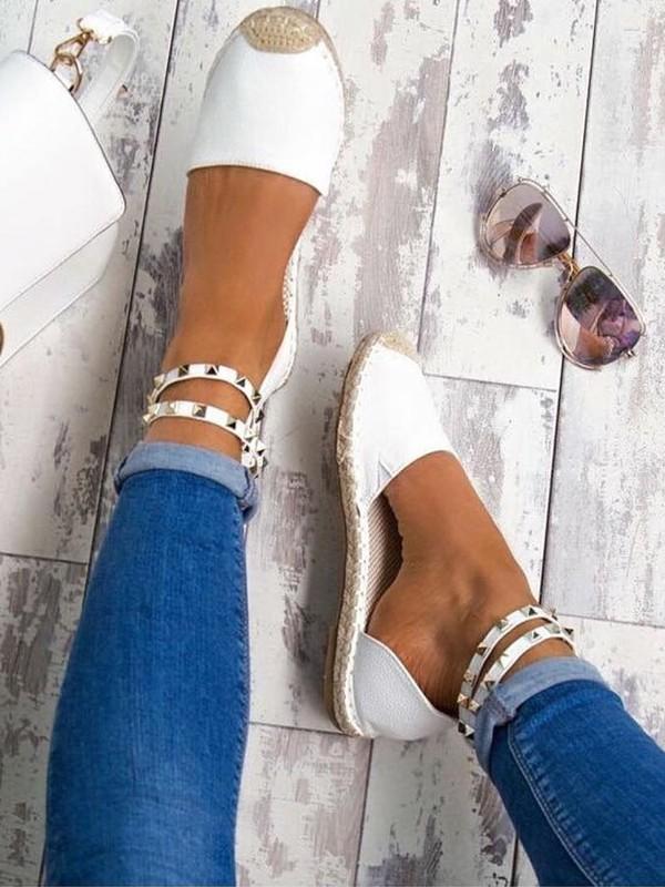 qualité fiable Vente au rabais 2019 100% d'origine Espadrilles bout rond plat rivet cheville sangle décontracté femme  chaussures blanche