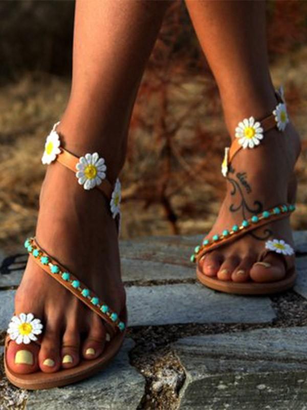 Steinperlen Blume Flip Flops Damen Hippie Aprikose Schuhe Zehe Knöchel Zehentrenner Sandalen Runde Flache 0Pn8OwkX