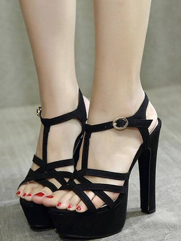 High Buckle Heeled Stiletto Black Fashion Toe Sandals Round K1lcfj WD9IYEH2