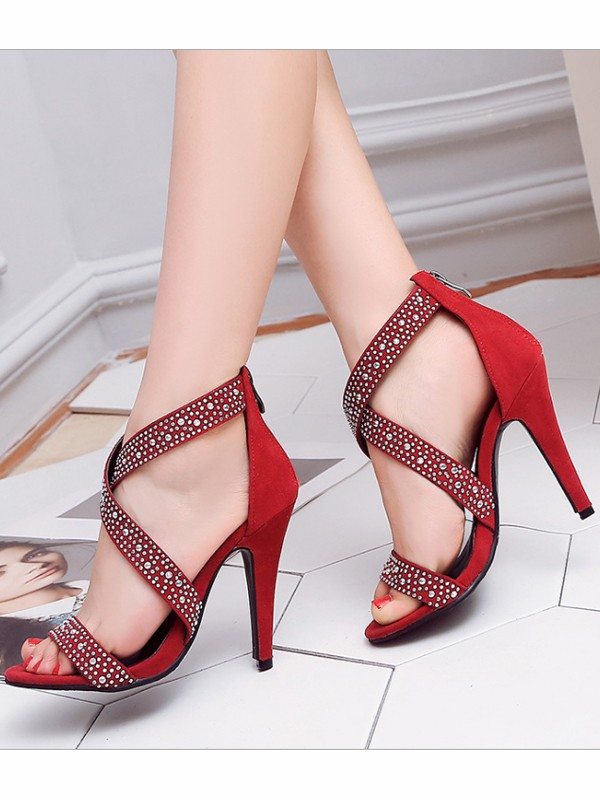 e87464a7051 Red Round Toe Rhinestone Stiletto Fashion High-Heeled Sandals - Sandals -  Shoes