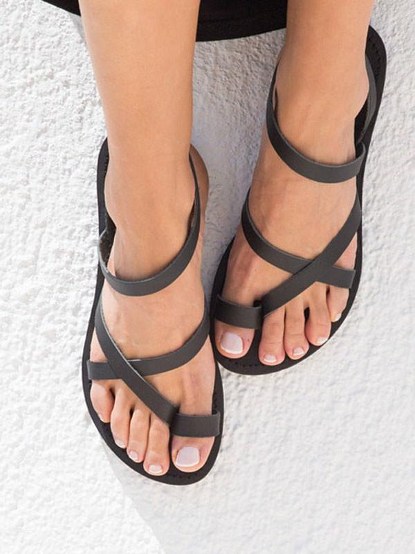sale retailer 8cd00 57d32 Schwarz Runde Zehe Schnürung Zehentrenner Römer Hippie Flache Sommer  Sandalen Damen Mode Schuhe