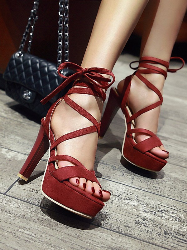 d251295b93f7 Red Round Toe Chunky Cross Strap Fashion High-Heeled Sandals - Sandals -  Shoes