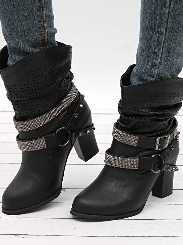 buy popular 395bc d3c84 Schwarz Runde Zehe Blockabsatz Strass Nieten Cut Out Herbst Winter  Stiefeletten Damen Hohen Absatz Stiefel Schuhe Boots