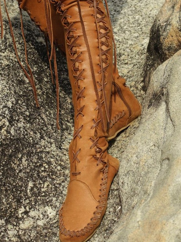 f1be9a103ea Brown Round Toe Lace Up Fashion Over-The-Knee Boho Boots - Boots - Shoes