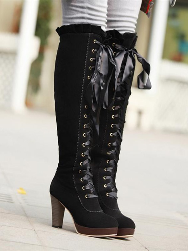 d98843d7ab20e Black Round Toe Chunky Knee-High Fashion High-Heeled Boots - Boots - Shoes