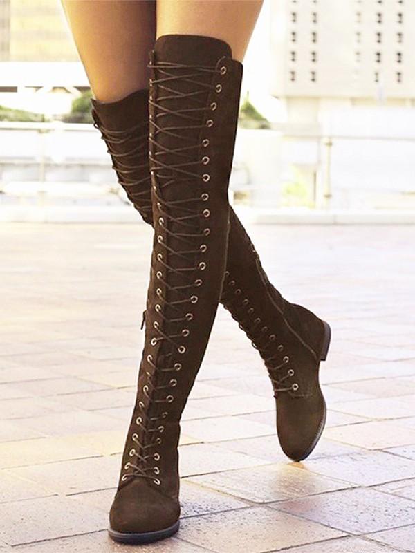 Langschaftstiefel Zehe Reißverschluss Schnürung Damen Schuhe Stiefel Runde Flache Schnürstiefel Overknees Braun qpzMGSVU
