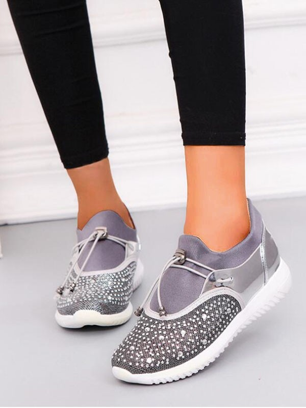 6840ec70d Silver Round Toe Flat Rhinestone Drawstring Fashion Shoes - Flats - Shoes