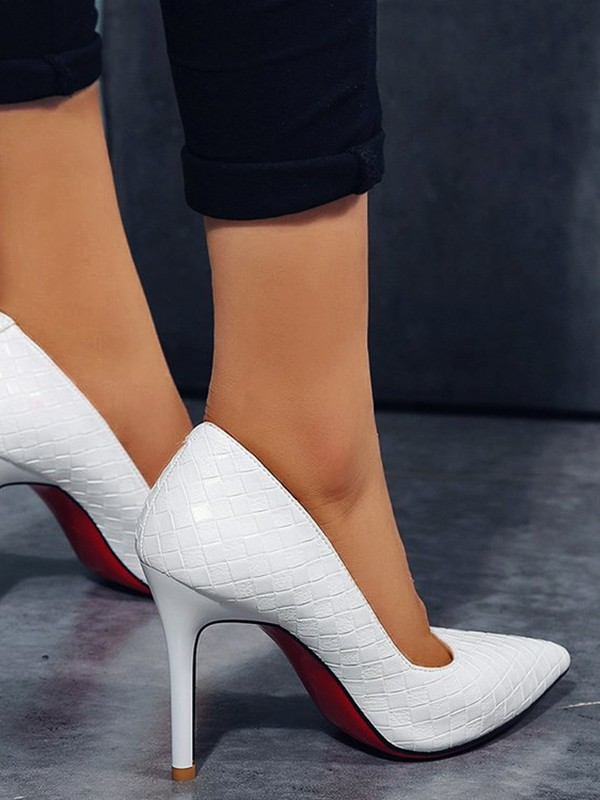 Pumpsheels White Heeled Shoes Point Toe Stiletto Fashion High 80wOnPk