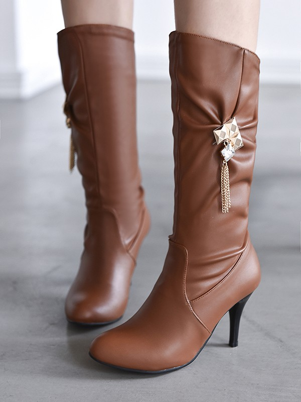 1f2770c6c81 Brown Round Toe Stiletto Rhinestone Fashion Knee-High Boots - Boots - Shoes