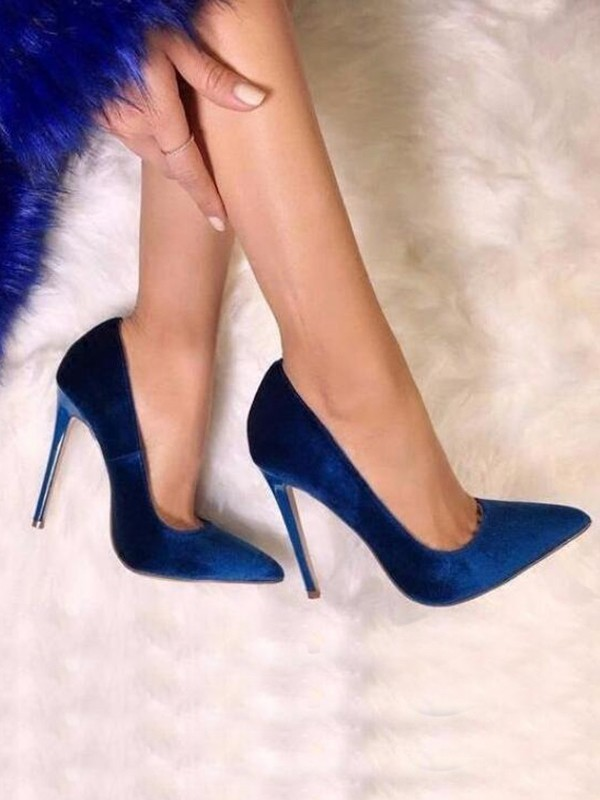 f1d2f919253 Royal Blue Point Toe Stiletto Suede Fashion Pump High-Heeled Shoes - Pumps  Heels - Shoes