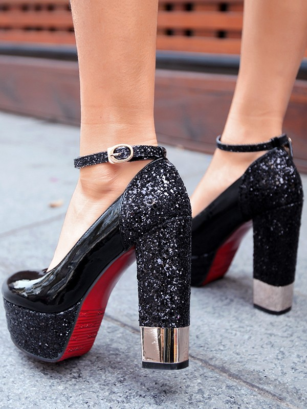 4e5909294d7 Black Round Toe Sequin Chunky Fashion High-Heeled Shoes - Pumps Heels -  Shoes