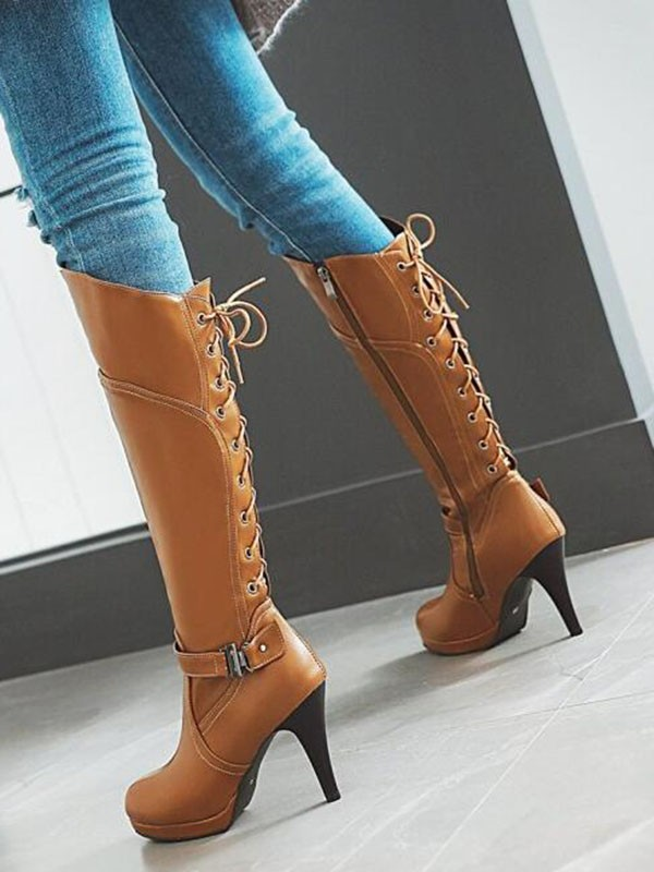 afacaccab64 Brown Round Toe Stiletto Buckle Cross Strap Fashion Knee-High Boots - Happy  Hour