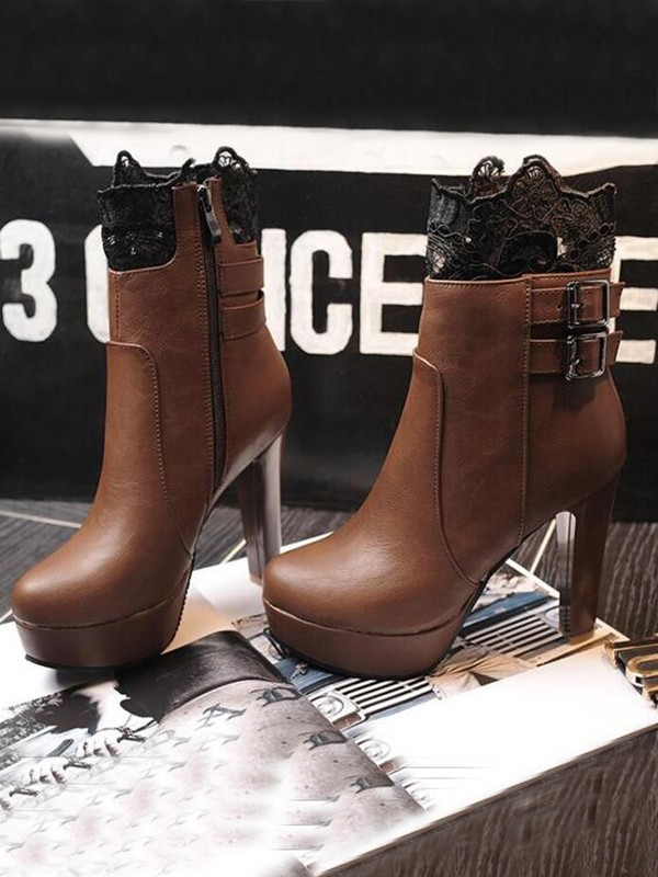 1d24b625aafcd Brown Round Toe Chunky Lace Patchwork Lace Double Buckle Fashion Ankle Boots  - Happy Hour