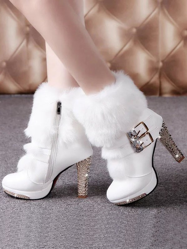 2e5692112e3 White Round Toe Chunky Rhinestone Faux Fur Patchwork Fashion Mid-Calf Boots  - Happy Hour
