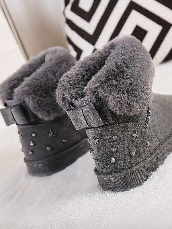 e487e073998 Grey Round Toe Flat Bow Rivet Fashion Ankle Boots