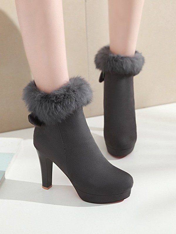 30fb0a91ea4 Grey Round Toe Stiletto Bow Faux Fur Fashion Ankle Boots