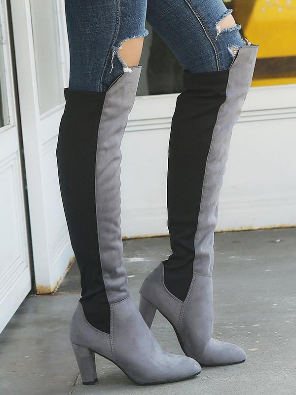 Grey Round Toe Chunky Fashion Over The Knee Boots Stiefel Schuhe