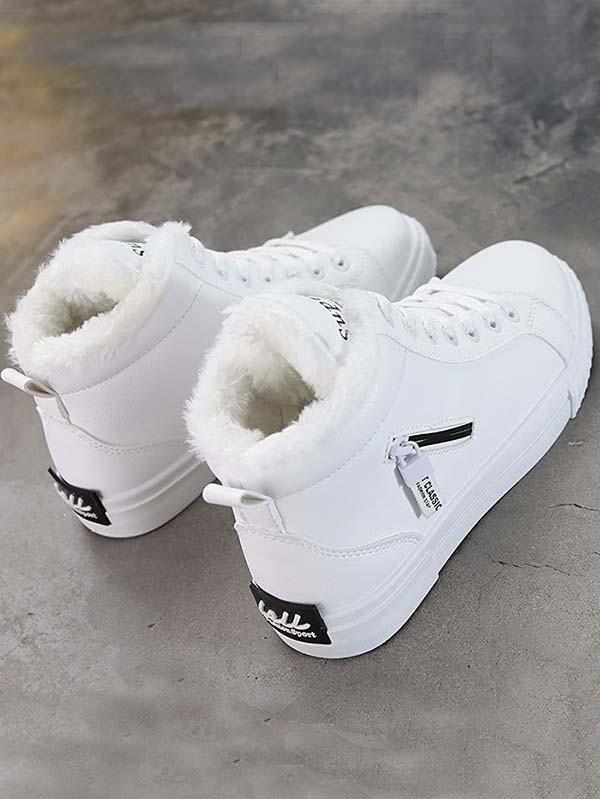 sports shoes 0911d d816b Weiße Runde Zehe Reißverschluss Schnürung Gefütterte Flache Stiefeletten  Schlupfstiefel Damen Schuhe Boots Sneaker
