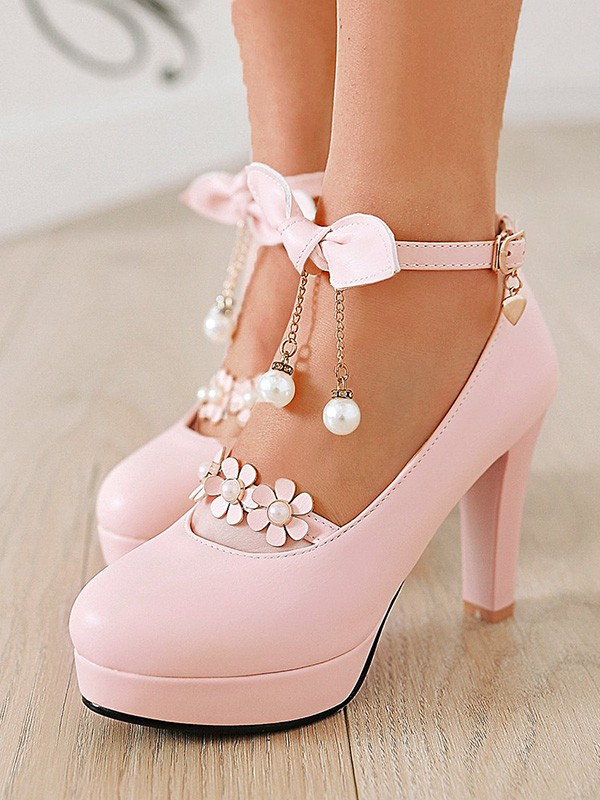 1db9f5afc97 Pink Round Toe Chunky Bow Pearl Sweet Fashion High-Heeled Shoes
