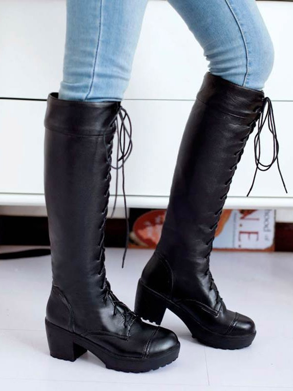 ccc10bd85b9 Black Round Toe Chunky Fashion Knee-High Boots - Boots - Shoes