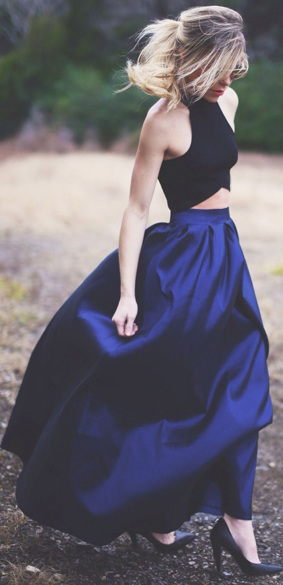 Blue Plain Ruffle Loose Fashion Party Long Skirt - Skirts - Bottoms