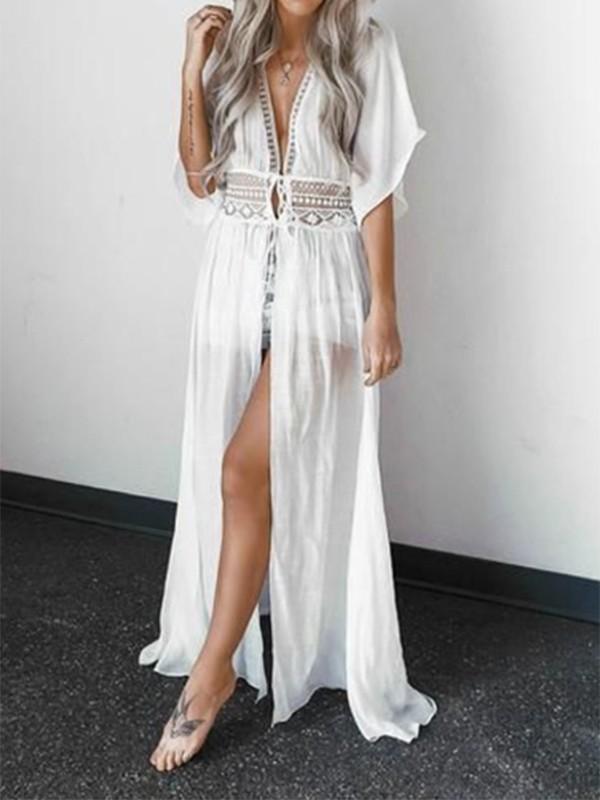 d85f932c91 White Patchwork Lace Drawstring Chiffon Bohemian Kimono Cover Up Maxi Dress  - Maxi Dresses - Dresses