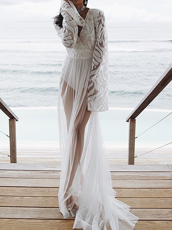 f8e770618a678b White Patchwork Lace Wrap V-neck Long Sleeve Sheer Bohemian Beachwear  Bikini Cover up Smock Maxi Dress - Maxi Dresses - Dresses