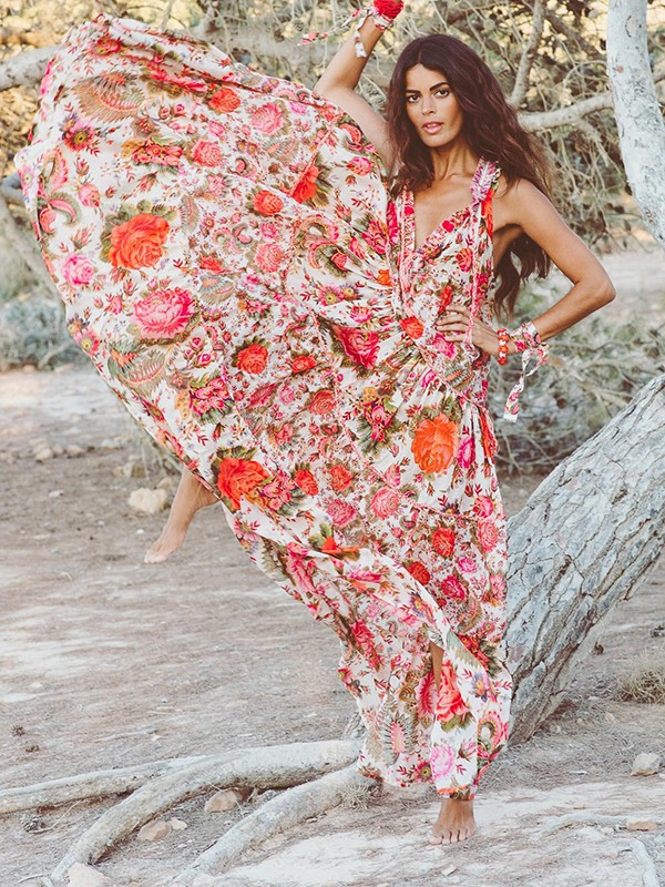 29a8950e5a Orange Floral Print V-neck Big Swing Ruffle Bohemian Beach Flowy Vacation  Maxi Dress - Maxi Dresses - Dresses