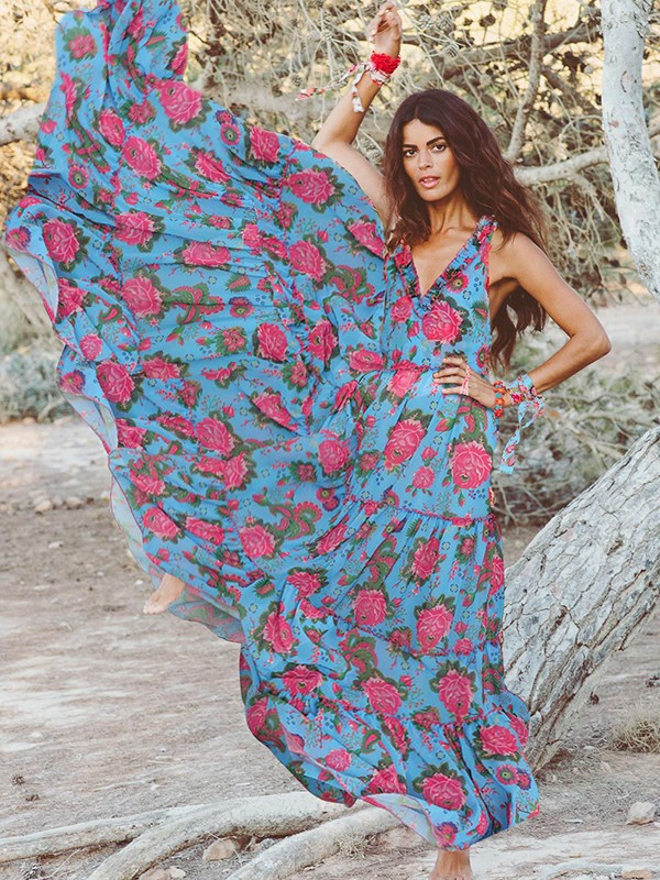 75478dcd93 Blue Floral Print V-neck Big Swing Ruffle Bohemian Beach Flowy Vacation  Maxi Dress - Maxi Dresses - Dresses