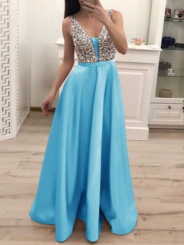59ce8c8dd5 Light Blue Patchwork Sequin Pleated Backless V-neck Sparkly Glitter  Birthday Prom Evening Party Maxi