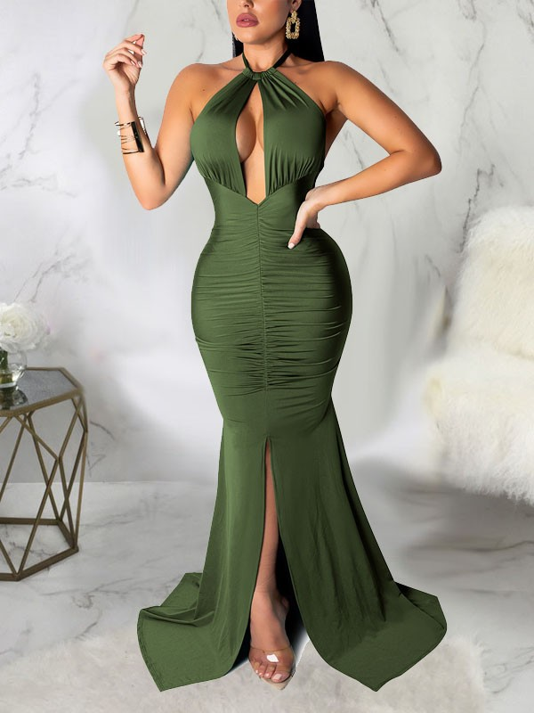 48cd3da08fd Black Halter Neck Cut Out Pleated Backless Bodycon Mermaid Front Slit Prom  Evening Party Maxi Dress - Maxi Dresses - Dresses