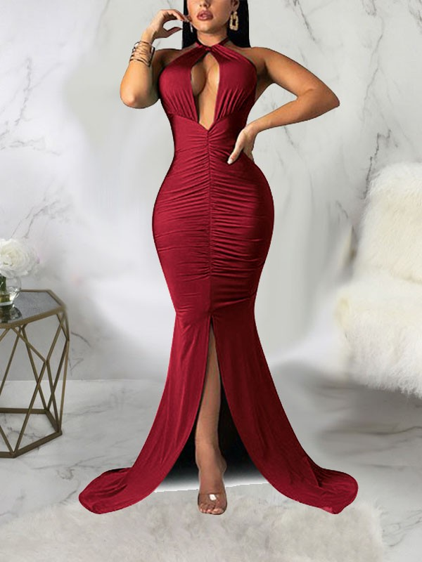 a45ac29cf8a Burgundy Halter Neck Cut Out Pleated Backless Bodycon Mermaid Front Slit  Prom Evening Party Maxi Dress - Maxi Dresses - Dresses