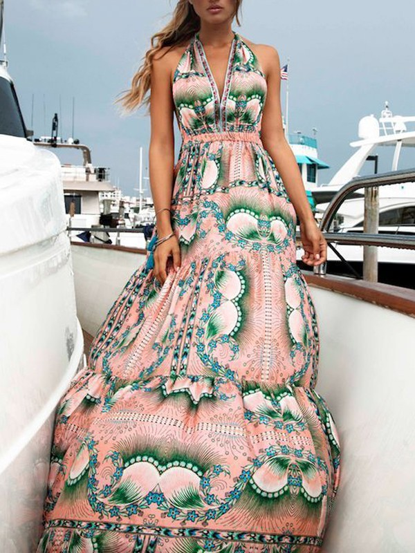 ddd94e7cd05 Pink Floral Halter Neck V-neck Backless Bohemian Maxi Dress - Maxi Dresses  - Dresses