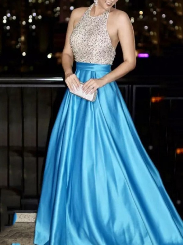 3b4cc13b25 Light Blue Patchwork Sequin Pleated Halter Neck Backless Sparkly Glitter  Birthday Prom Evening Party Maxi Dress