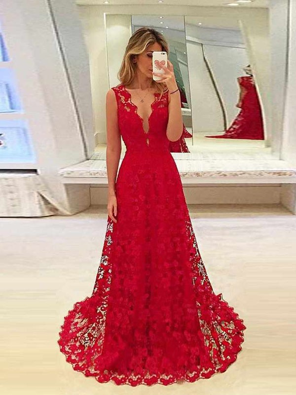 Red Lace Cut Out V Neck Sleeveless Fashion Maxi Dresses
