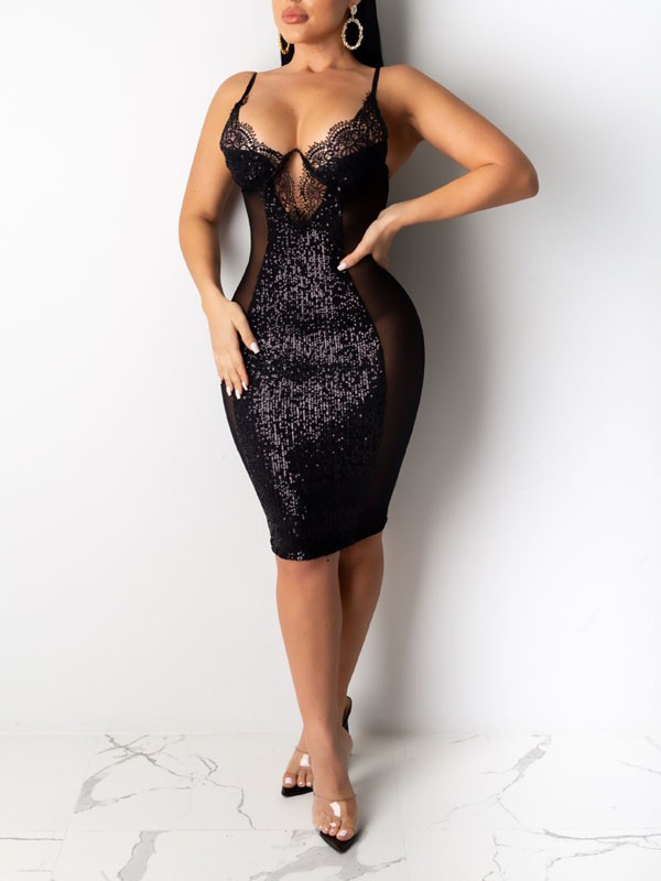 Black Patchwork Lace Sequin Spaghetti Strap Bodycon Sparkly Glitter Birthday Party Maxi Dress