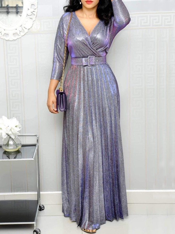 Lavender Belt Pleated Glitter Sparkly V-neck Plus Size Formal Banquet Maxi  Dress